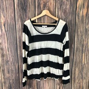Madewell large top long sleeve stripes black white